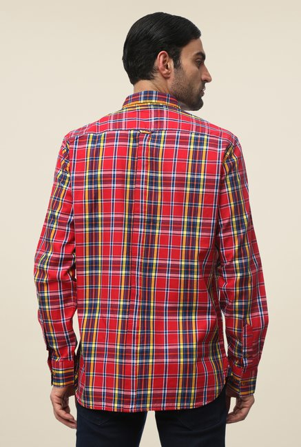 FCUK Red Cotton Checks Shirt