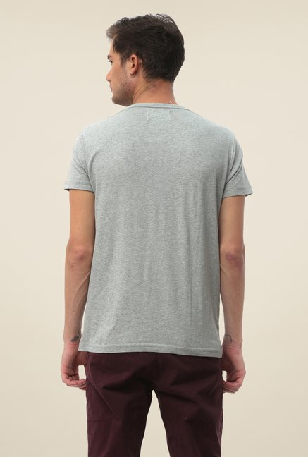 FCUK Grey Printed Crew Neck T Shirt