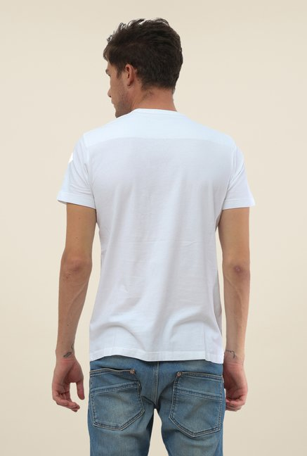 FCUK White Printed Short Sleeve T Shirt