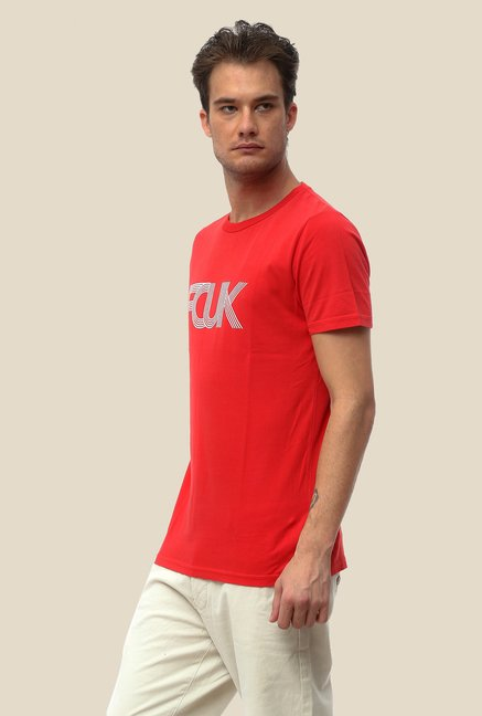 FCUK Red Printed Crew Neck T Shirt