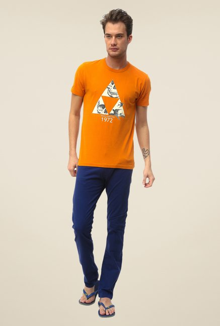 FCUK Orange Printed Crew Neck T Shirt