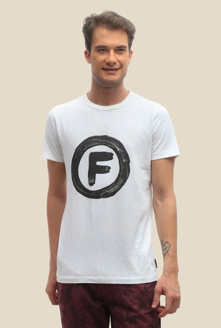 FCUK White Printed Short Sleeve Slim Fit T Shirt