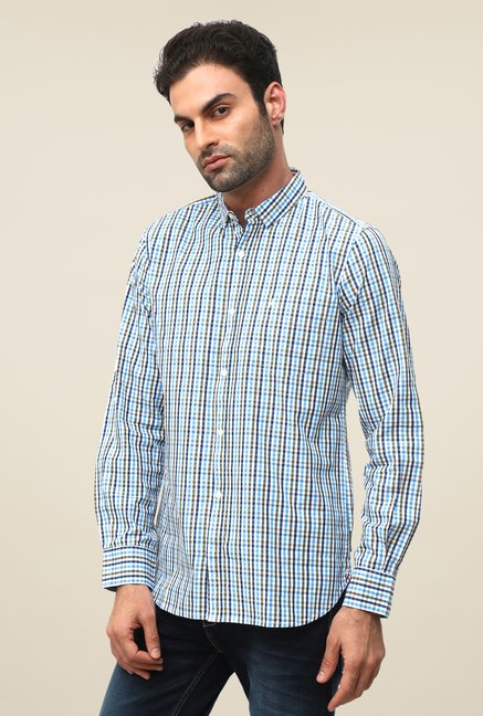 FCUK Blue Shirt Collar Checks Shirt