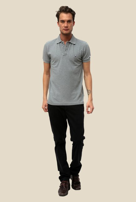 FCUK Grey Solid T Shirt