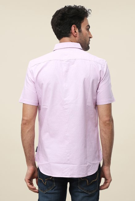 FCUK Pink Half Sleeve Solid Shirt