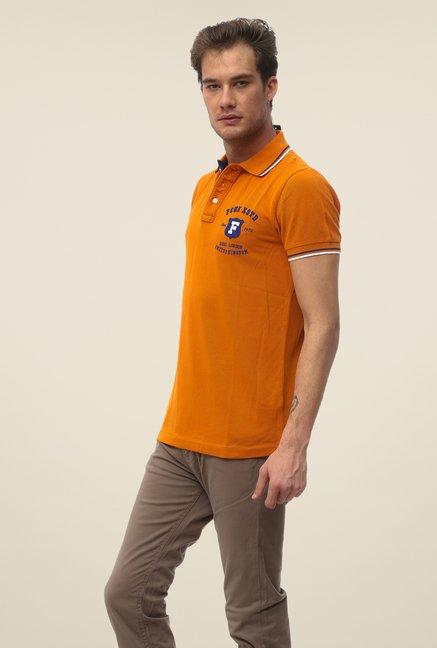 FCUK Orange Solid Short Sleeve T Shirt