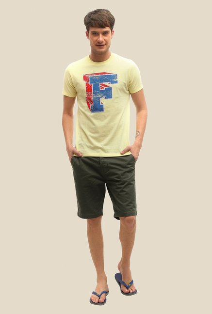 FCUK Yellow Printed Crew Neck T Shirt