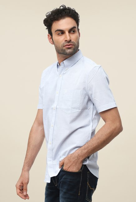 FCUK Blue Half Sleeve Striped Shirt