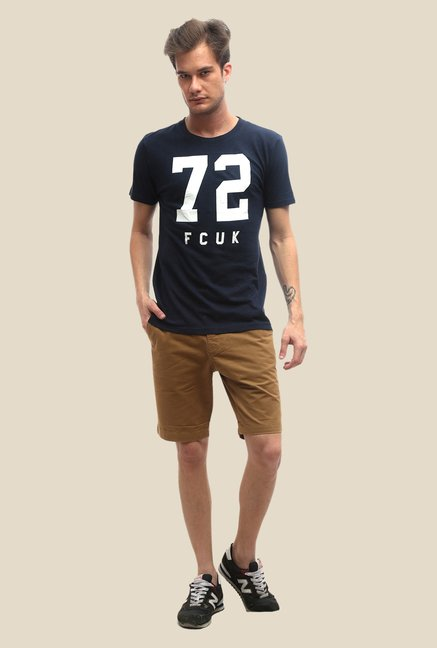 FCUK Blue Printed Slim Fit T Shirt