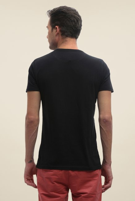 FCUK Black Printed Crew Neck T Shirt