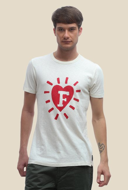 FCUK White Printed Slim Fit T Shirt