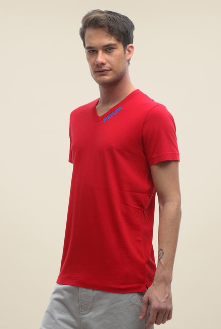 FCUK Red Solid V Neck T Shirt