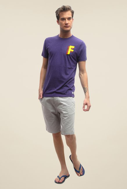FCUK Purple Solid Crew Neck T Shirt