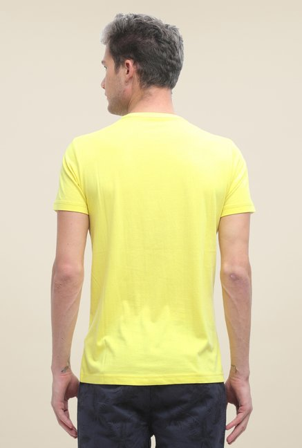 FCUK Yellow Printed Slim Fit T Shirt