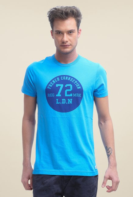 FCUK Blue Printed Short Sleeve T Shirt