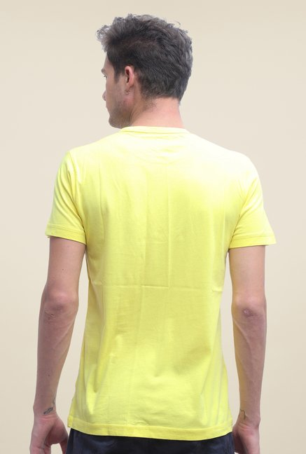 FCUK Yellow Printed Short Sleeve T Shirt