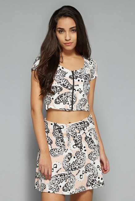 Nuon by Westside Pink Printed Crop Top