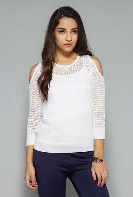 Nuon by Westside White Lace Top