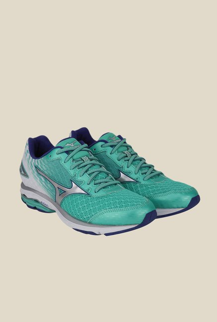 Mizuno Wave Rider 19 Turquoise & Silver Running Shoes