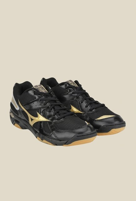 Mizuno Wave Twister 4 Black & Golden Sports Shoes
