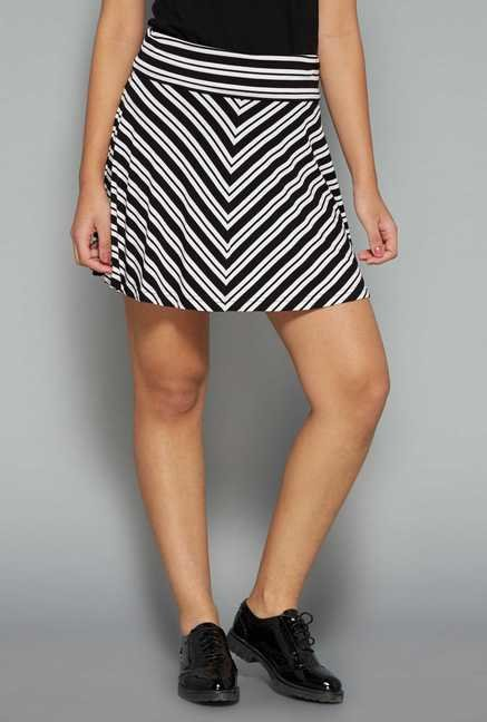 Nuon by Westside Black & White Striped Skirt