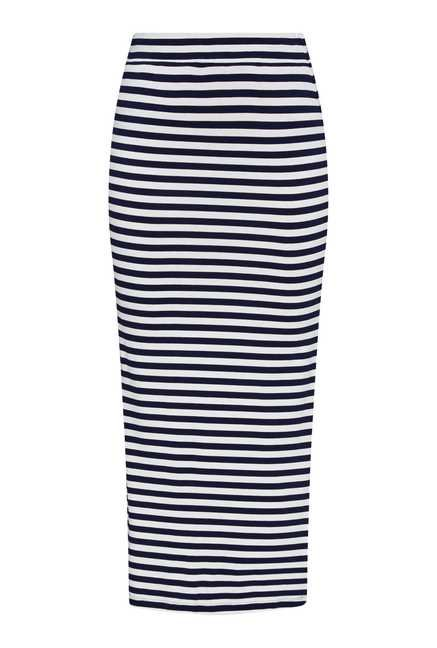 Nuon by Westside Navy & White Striped Skirt
