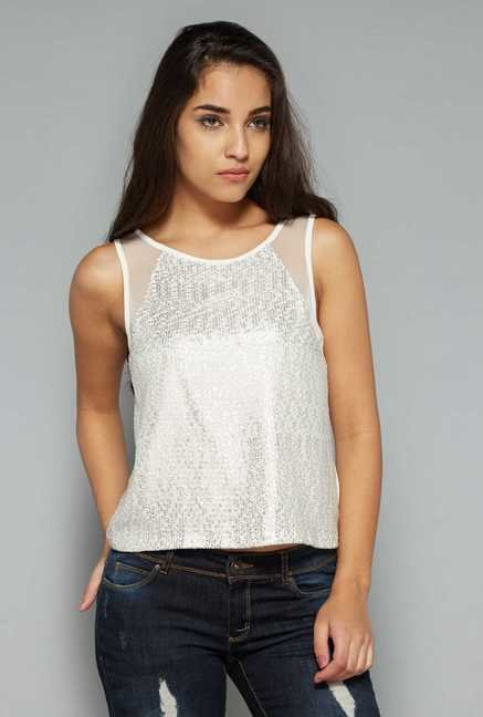 Nuon by Westside White Embellished Top