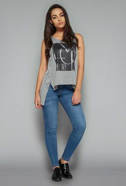 Nuon by Westside Grey Printed Top