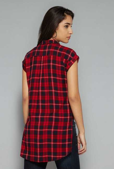 Nuon by Westside Red Checks Blouse