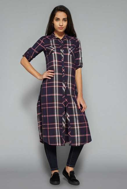 Nuon by Westside Navy Checks Tunic