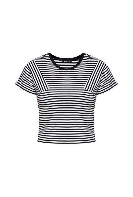 Nuon by Westside White & Black Striped Crop Top