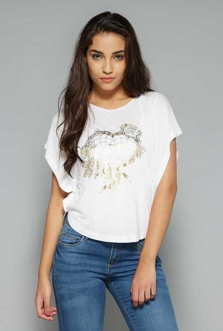 Nuon by Westside White Floral Print Top