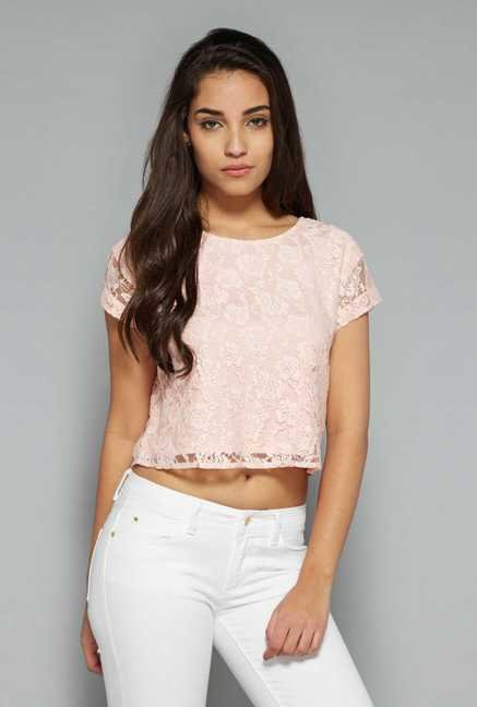 Nuon by Westside Pink Lace Top