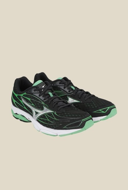 Mizuno Wave Catalyst Black & Green Running Shoes