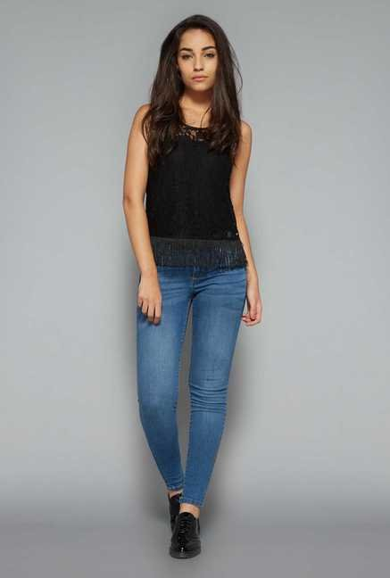 Nuon by Westside Black Lace Top