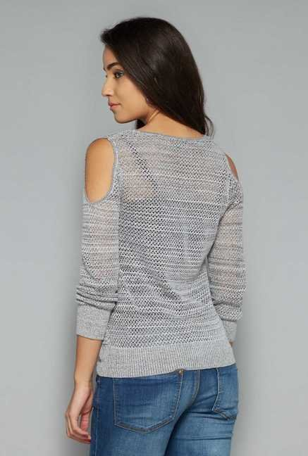 Nuon by Westside Grey Crochet Top