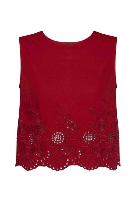 Nuon by Westside Red Embroidered Top