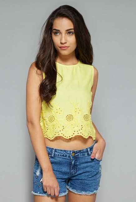 Nuon by Westside Yellow Embroidered Top