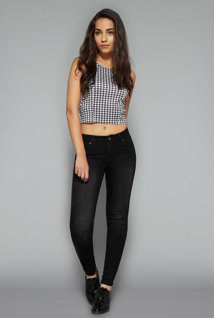 Nuon by Westside White & Black Houndstooth Print Top
