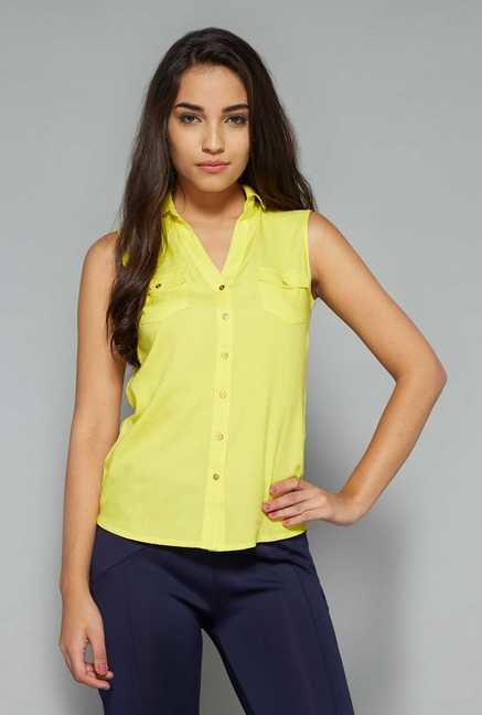Nuon by Westside Yellow Solid Blouse