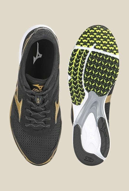 Mizuno Wave Emperor Black & Golden Running Shoes