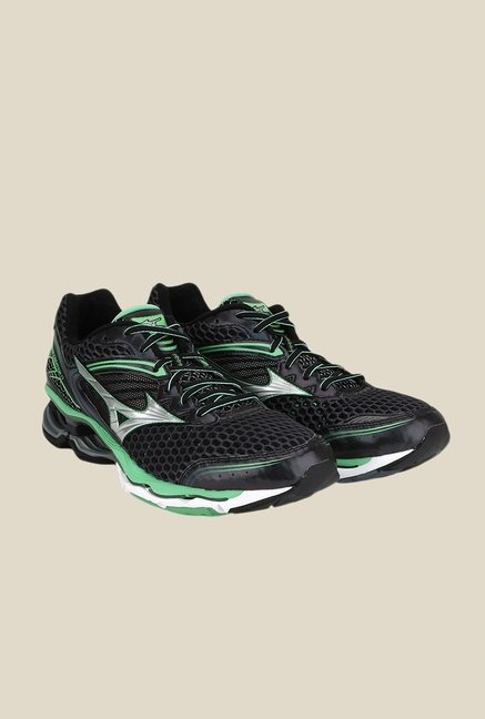 Mizuno Wave Creation 17 Black & Green Running Shoes