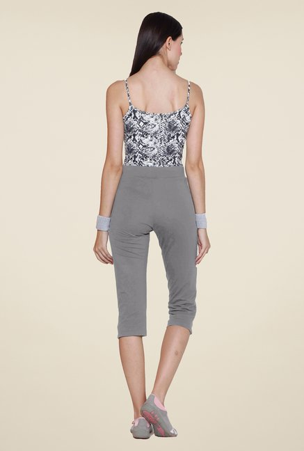 Sweet Dreams Grey Mid Rise Solid Capris