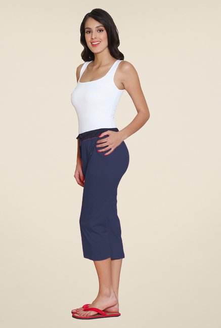 Sweet Dreams Navy Twill Stretch Solid Capris