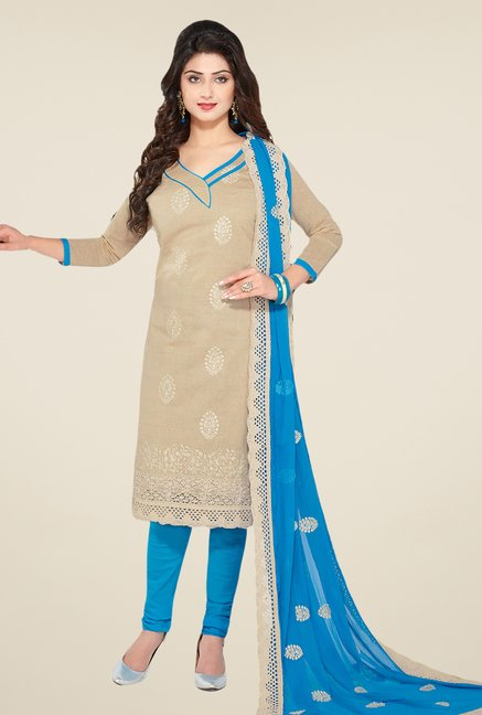 Salwar Studio Fawn & Sky Blue Embroidered Dress Material