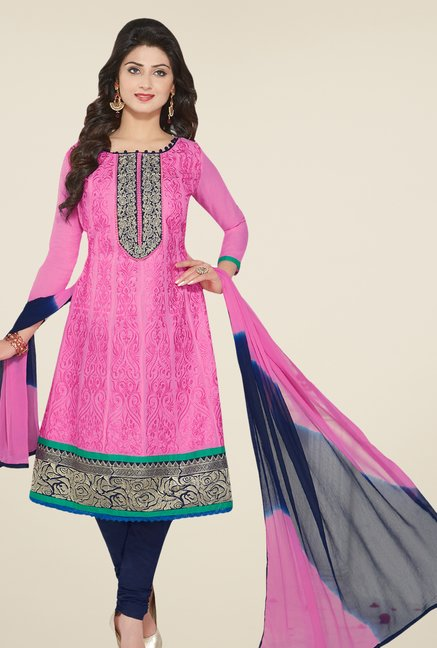 Salwar Studio Pink & Navy Embroidered Dress Material