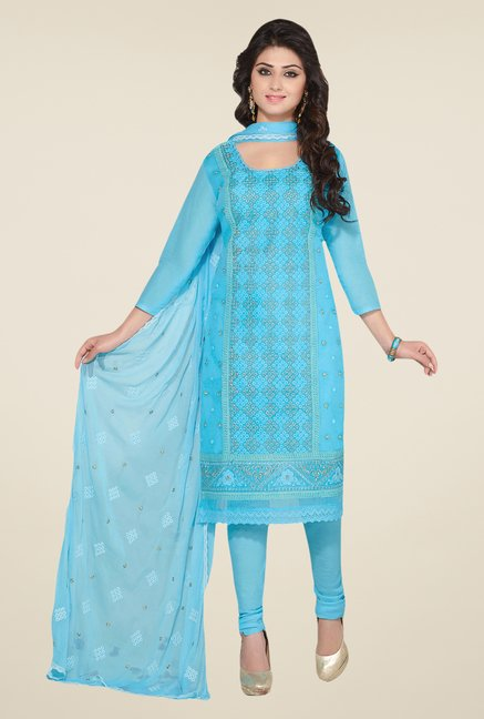 Salwar Studio Sky Blue Embroidered Dress Material