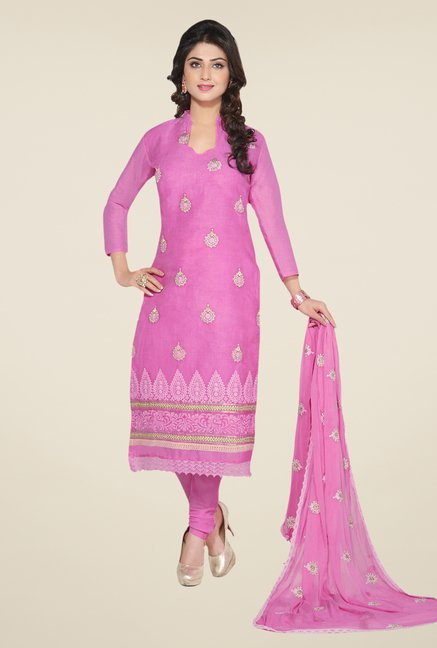 Salwar Studio Pink Embroidered Dress Material
