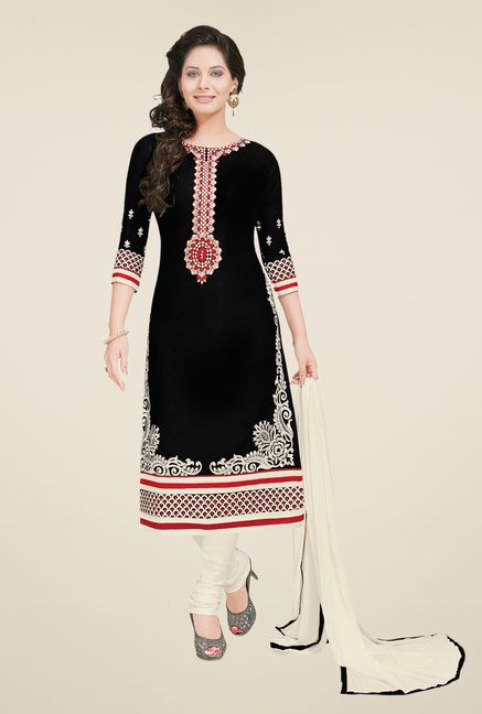 Salwar Studio Black & Cream Embroidered Dress Material