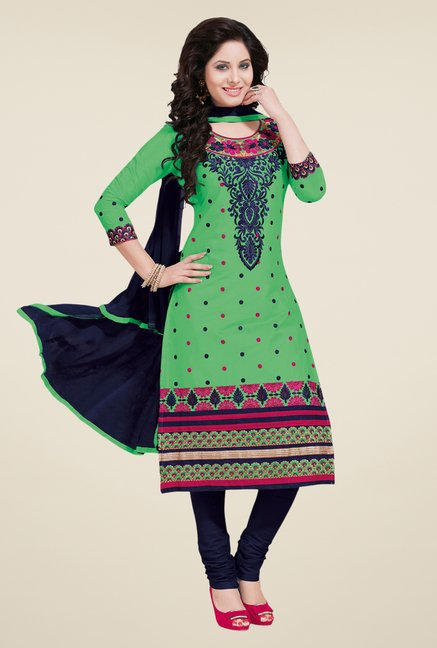 Salwar Studio Green & Dark Blue Dress Material